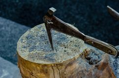 Close-up of old roofing hammer royalty free stock images