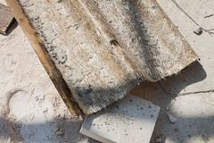 Old roofing tile of fiber glass. Royalty Free Stock Photos