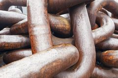 Close up of a old and rusty anchor chain. Stock Photos