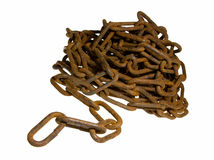 Close up of old rusty chain. Heap of chain, wide DOF ? all in focus Royalty Free Stock Images