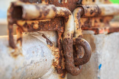 Close up old and rusty metal latch Stock Photo
