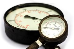 Close up old and rusty pressure gauge isorated on white Backgrou. Nd Stock Photos