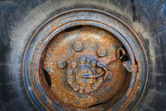 Close up  of an old, rusty wheel. Iso 100, heavy processed for hdr tone mapping effect Stock Photo
