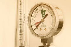 Close-up old scale display of oxygen meter Stock Image