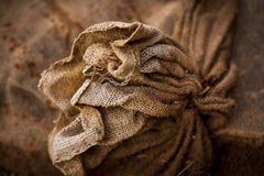 Close up of an old seal burlap sack Royalty Free Stock Photo