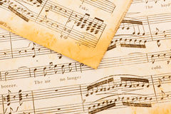 Close up of old sheet music Stock Photos