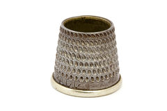 Close up of an old silver thimble Stock Images