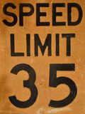 Old speed limit 35 sign. Close up of old speed limit 35 sign Royalty Free Stock Photography
