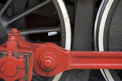 Close-up of old steam locomotive wheels, now tourist attraction Stock Photo
