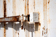Close up old steel verse of container. Close up old steel verse of old container Royalty Free Stock Photography