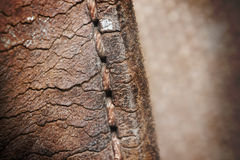 Close-up of old stiches in leather Royalty Free Stock Photo