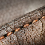 Close-up of old stiches in leather Royalty Free Stock Images