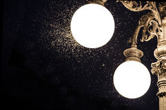 Close-up of an old street lamp with mosquitoes Stock Photos
