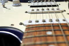 Close up of an old style electric guitar Stock Photos