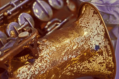 Close up of a old tenor saxophone, in vintage look. Image digitally manipulated royalty free stock photo
