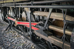 .Close up of old train wheels Royalty Free Stock Photos