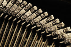 Close-up of old typewriter letter and symbol keys Royalty Free Stock Images