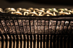 Close-up of old typewriter letter and symbol keys stock image