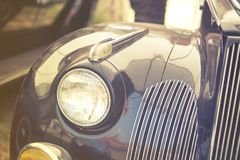 Close up on old vintage car ,front light Stock Photos
