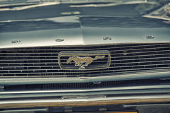 Close up on Old Vintage Ford Mustang logo Stock Photography
