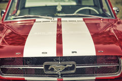 Close up on Old Vintage Ford Mustang logo. Sleza, Poland, August 15, 2015: Close up on Old Vintage Ford Mustang logo on  Motorclassic show on August 15, 2015 in Stock Image