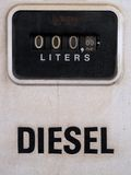 Close up of an old vintage gas petrol pump. Counter stock photo