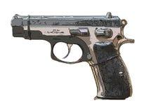 Close up on old vintage illustration of pistol on white backgrou. Nd Stock Images