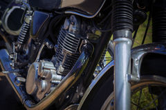 Close up old vintage motorcycle cylinder block Stock Photography
