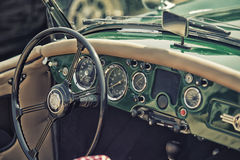 Close up on Old Vintage Steering wheel and cockpit Royalty Free Stock Images