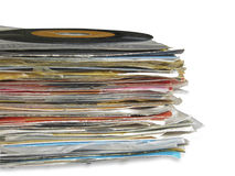 Close up of Old Vinyl Records Royalty Free Stock Photos