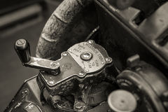 Close up of an old war planes rudder trim controls Stock Photography