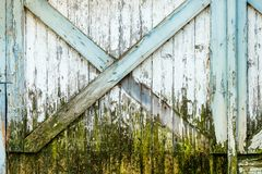 Vintage weathered wooden barn door with peeling paint. stock photos