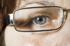 Close up old women eye and glasses Stock Photography