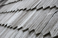 Close-up of the old wood shingle roof Royalty Free Stock Photo