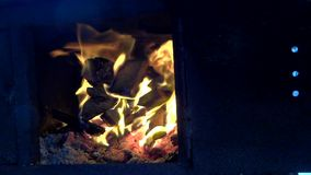 Close up old wood stove fire. 1080 stock footage