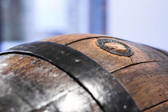 Close up of an old wooden barrel Royalty Free Stock Photo