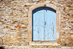 Close up of an old wooden blue door. Stock Photo