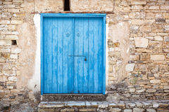 Close up of an old wooden blue door. Royalty Free Stock Images