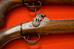 Close Up Old Wooden Gun Isolated Stock Photos
