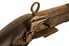Close Up Old Wooden Gun Isolated Stock Image