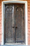 Close-up of old wooden massive door stock photography