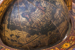 Close up of Old Wooden Mounted World Globe Royalty Free Stock Photos