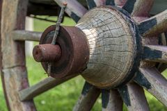 Old wooden wagon wheel. Close up Old wooden wagon wheel stock photos