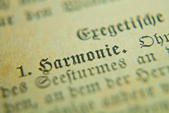 Harmony in German Old pages of a bible of the 18th century royalty free stock photography