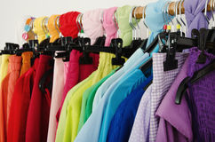 Free Close Up On Color Coordinated Clothes On Hangers In A Store. Royalty Free Stock Image - 41367036
