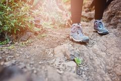 Close Up On Woman Trekking Boots Stock Images