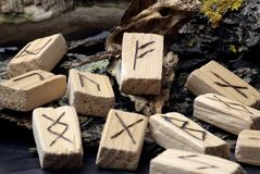 Free Close-up On Wooden Runes, Ancient Alphabet, Lie In The Center Of Wooden Sticks Royalty Free Stock Photos - 158645748