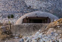 Close-up of one of the countless military concrete bunkers or dots in the southern Albania built during the communist government royalty free stock photography