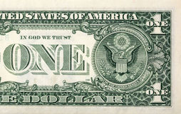 Close up of one dollar! Royalty Free Stock Image
