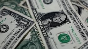 Close up of one dollar notes stock footage